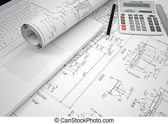 Scrolls engineering drawings and laptop. Desk Engineer