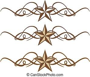scrolls, ocidental, três, estrela