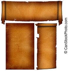 Scrolls of antique parchment.