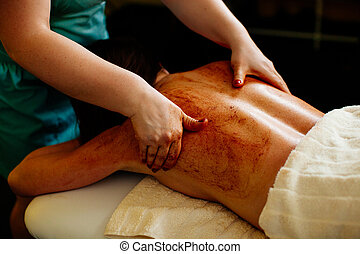 scrub body massage pampering close up