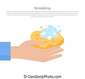Scrubbing Hand with Soap and Wisp Design Banner