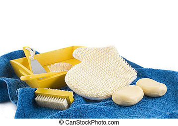 scrubbing in yellow and blue