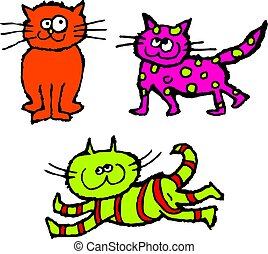 scruffy cats - group of colourful and scruffy cartoon cats
