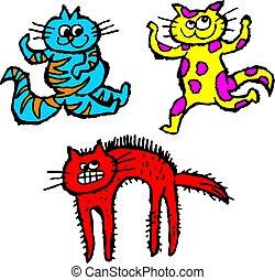 scruffy cats - group of colourful cartoon scruffily drawn ...