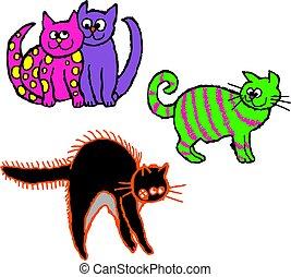 scruffy cats - Group of scruffy, colourful cartoon cats ...