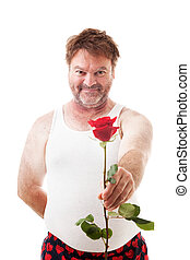 Scruffy Guy with Single Rose