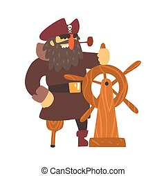 Scruffy Pirate Captain On Wooden Leg With Eye Patch Holding...