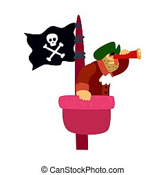 Scruffy Pirate On Mast Lookout With Pirate Flag And Looking...