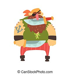 Scruffy Pirate With Eye Patch And Bandana Holding Knife In...