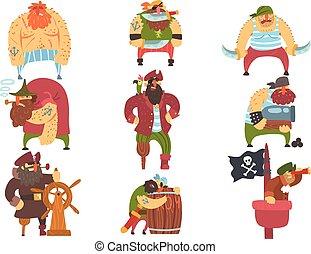 Scruffy Pirates Cartoon Characters Set. Cool Filibuster...