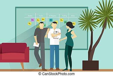 scrum, ágil, metodologia, software, ficar, reunião