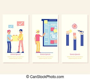 Scrum board proccess - agile methodology to manage business project on vertical banners.