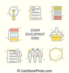 Scrum development icons set - agile methodology to manage project.