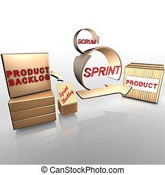 scrum, per, gestione progetti, e, agile, software,...