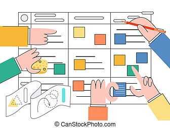 scrum, tarefa, tábua, vetorial, ilustração, -, ágil, trabalho equipe, de, software, development.
