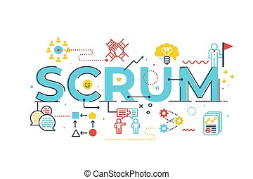 Scrum word lettering illustration