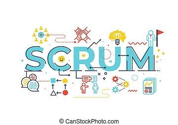 Scrum word lettering illustration