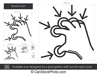 Scrunch line icon. - Scrunch vector line icon isolated on...