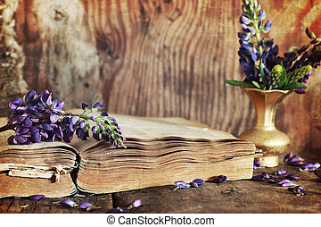 sctrathes, effect, op, foto, retro, boek, op, wooden table, klee