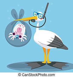 Scuba Dive Stork Delivery - Scuba diver stork delivering a...