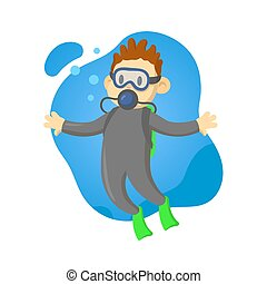 Scuba diver boy underwater, cartoon character. Flat vector illustration, isolated on white background.