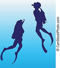Scuba diver - Man and woman in scuba underwater swimmers....
