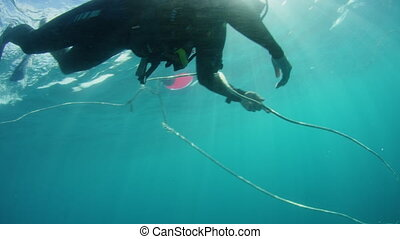 Scuba diver fixing a rope used in fishing - Underwater shot...