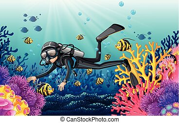 Scuba diver in a beautiful coral scene