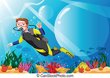 A vector illustration of a scuba diver diving in the ocean