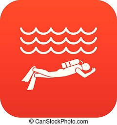 Scuba diver man in diving suit icon digital red