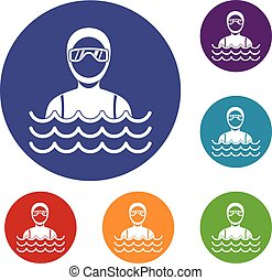 Scuba diver man in diving suit icons set