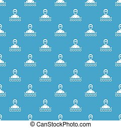 Scuba diver man in diving suit pattern seamless blue