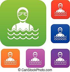 Scuba diver man in diving suit set collection