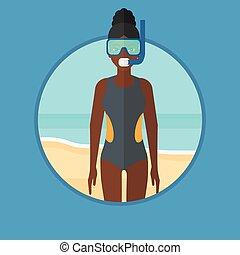 Scuba diver on the beach vector illustration.