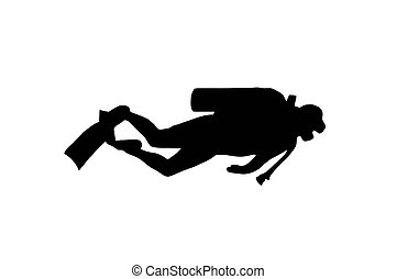Scuba Diver - Silhouette of scuba diver swimming with gear