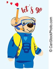 Scuba diver teddy bear drawing. A cute bear is about to dive into the water. Isolated object