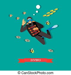 Scuba diver under water with fishes, flat design
