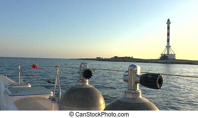 Scuba Diver Underwater Tanks and Sunset, Cuba