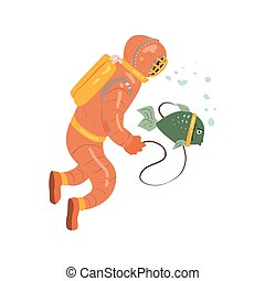 Scuba Diver With Pet Fish Flat Isolated Vector Simple...