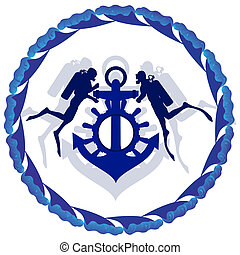 Scuba divers and anchor