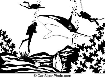 Predatory fish of the seas and oceans. Scuba divers swim near sharks. Black and white illustration.
