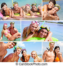 Scuba divers - Collage of happy friends spending summer ...