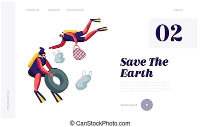 Scuba Divers Collecting Floating Sea Garbage. Dirty Underwater Surface, Planet Pollution, Characters Cleaning Trash in Ocean. Website Landing Page, Web Page Cartoon Flat Vector Illustration, Banner