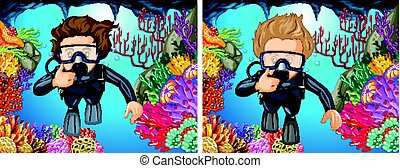 Scuba divers diving under the ocean illustration