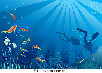 Scuba divers, sea life. Fish, seaweeds, bubbles. Copy space ...
