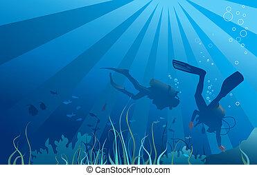 Scuba divers, sea life. Fish, seaweeds, bubbles. Copy space...