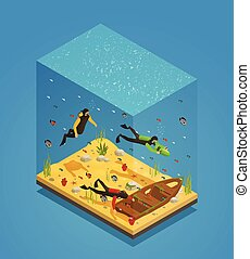 Scuba Divers Underwater Isometric Composition