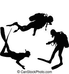 scuba divers - vector - illustration of scuba divers -...