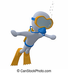 3d character doing scuba diving.