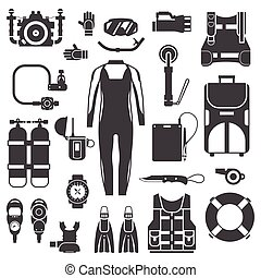 Scuba Diving and Snorkeling Gear Icons
